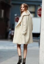 Vince $825 Fuzzy Knit Boucle Car Coat in Winter White; L