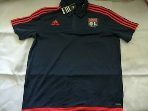 Adidas Olympique Lyon Polo Shirt Mens Large L - Blue - Brand New