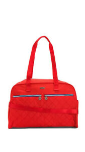⛵️NWT Baggallini Varsity Nylon Extra Large Duffel Travel Red Bag+wristlet Pouch