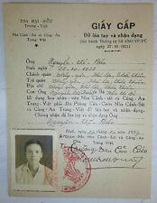 PHU LOI - Thua Thien Province - HUE TRAVEL PERMIT and CARD 1957 - Vietnam War