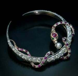 Antique Victorian Crescent Snake Large Fine Brooch With Rubies Pearls & Clear CZ