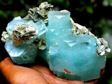 1028 Gm Undamaged & DT Natural Sky Blue Stepped Gemmy Aquamarine Crystal Cluster