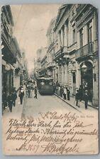 Rua de Sao Bento SAU PAULO Brazil—Rare TROLLEY Antique UDB Bilhete Postal 1907