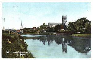 AK, Worcester, West Midlands, Cathedral and River, 1906
