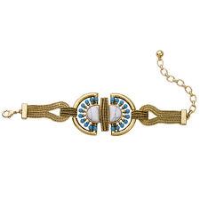 Bracelet Golden Art Deco Pearl Turquoise Blue Gerometrique Ethnic Retro CT7