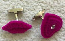 Paul Smith Lips & Heart Pink Velvet Cufflinks
