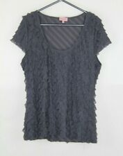 Phase Eight Top Blouse 16 Grey Ruffle