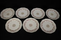 "7pc ZS & Co Porcelain MIGNON/ORLEANS Rose 9.5"" Luncheon Dinner Plates, Bavaria"