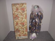 """Friendly Home Parties, 16"""" Harlequin Doll In Metallic Floral Suit + Poodle!"""