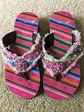 Montana West Platform Wedge Flip-flops Western Sandals Bling Size 8 Rarely Worn