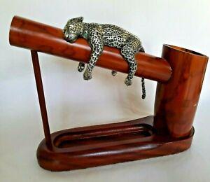 Handmade Large Bamboo Pot Pen Holder Lazy Leopard snoozing Desktop organizer