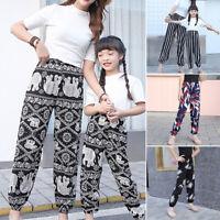 Girls Kids Harem Pants Sports Fitness Printed Elastic Loose Casual Long Trousers