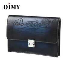 DIMY Men Handmade Vintage Berluti Style Patina Leather Envelope Clutch Bag Purse