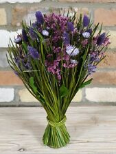 Decorative Tied Dried Purple Wild Flower Arrangement With Grass/Reeds