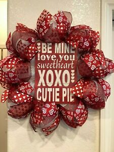 VALENTINE'S DAY WREATH 💕 White Deco Mesh SENTIMENT SIGN Whimsical CUTE!