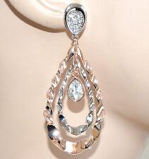 ORECCHINI donna pendenti ovali argento oro rosa strass brillantini boucles F230