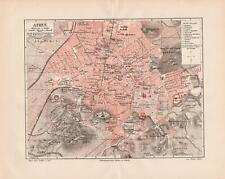 Antique map. GREECE. CITY MAP OF ATHENS. 1905
