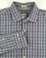 Peter Millar Long Sleeve Shirt Mens Size XL Purple Green White Plaid Cotton