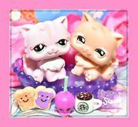 ❤️Authentic Littlest Pet Shop LPS #460 #490 Persian Cat KITTY Lot DIAMOND Eyes❤️