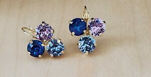 Swarovski Crystal Shiny Gold Plated Handset Earrings - This and That!