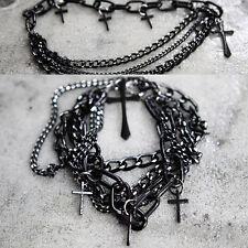 ByTheR Unisex Black Metal Cross Chain Bracelet Stylish Elegant Chic N