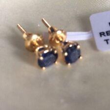 18K Y Gold, 1 Ct, Kanchanaburi, Sapphire Earrings, Stud, Screw Back