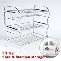 3 Tier Chrome Steel Dish Drainer Cutlery Rack Organiser Kitchen Drip Tray