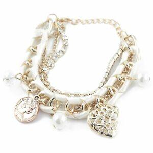 Modisches Bettelarmband Charm Damen Armband Armreif Perlenarmband weiss