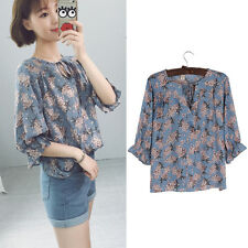 Women Floral Print Blouse Lace Up Ruffle Sleeve Shirt Loose Spring Korean Tops