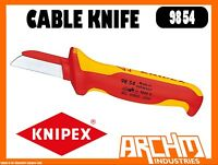 KNIPEX 9854 - CABLE KNIFE - 180MM - STRAIGHT BLADE 1000 VDE INSULATED ERGONOMIC