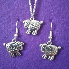 Sheep Earrings and Necklace Set * Farm Animal Charm Jewellery Vegan CIWF