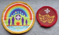2 scouts badges, theatre and 70th anniversary rainbow.