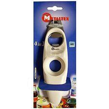 JAR OPENER CAN OPENER BOTTLE OPENER RING PULL UNSCREWER METALTEX 4 IN 1