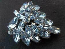 VTG WEISS ICE BLUE RHINESTONE DOUBLE FROND STATEMENT BROOCH SIGNED * XLNT!