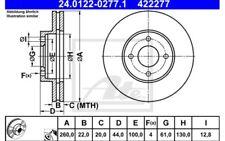 ATE Juego de 2 discos freno 260mm ventilado Para NISSAN 24.0122-0277.1
