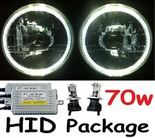 "WHITE 7"" Round Landrover Defender 90 110 130  Headlights & 70w H4 Hi/Lo HID Kit"