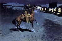 Oil painting Frederic Remington - an arguement with the town marshall on canvas