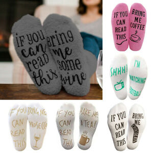 Novelty Women Thermal Funny Socks Letter If You Can Read This Bring Me Wine New