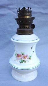French Paris Porcelain Oil Kerosene Lamp Base Hand Painted Rose 19th C