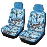 2pcs Universal Front Car Seat Covers Cushions Polyester Fiber Protector Wolf ✌