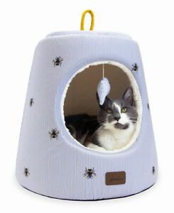 NEW! Joules Hideaway Cat Bed Bee Stripe Print with Dangle Toy