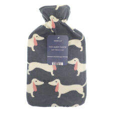 Country Club Dachshund Hot Water Bottle Rubber 2L Soft Fleece Cover Sausage Dog