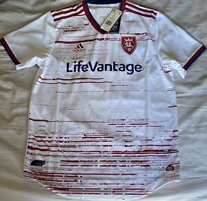 Adidas MLS Real Salt Lake RSL Away Soccer Jersey White Red GE5919. Adult Size: L
