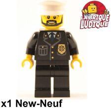 Lego - Figurine Minifig city police policier chef noir casquette badge or NEUF