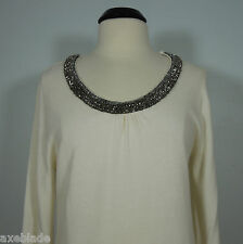 CAROLYN TAYLOR Women's Beads Embellished Scoop Neck Creme Sweater size L