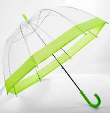 Elite See Through Clear Dome Bubble Umbrella With Lime Green Trim