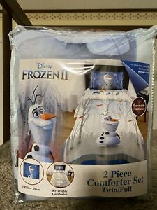 Disney Frozen 2 Olaf Kid's Reversible 2 Piece Comforter Sham Set Twin / Full
