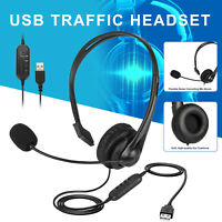 USB Headset with Noise Cancelling Mic Chat Lightweight for PC Laptop Call Center