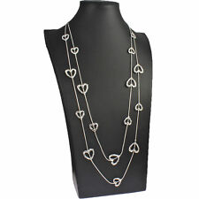 Beautiful silver fashion jewellery love heart charm double chain long necklace