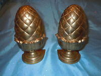 VINTAGE HEAVY BRASS PINEAPPLE oR ACORN ? BOOK ENDS NICE QUALITY BOOKENDS UNIQUE